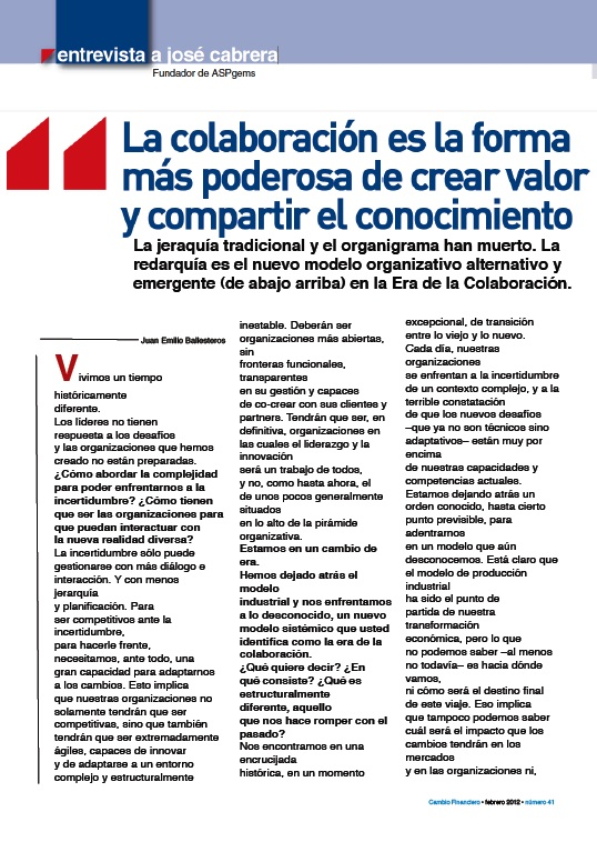 Entrevista sobre Redarquía en Cambio Financiero - Febrero 2012